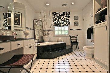 black and white bathroom - contemporary - bathroom - new york - Joan Scheinberg Design Associates