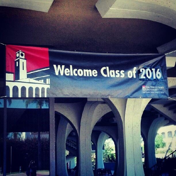 "Orientation starts tomorrow! @thatalexisgiirl's photo: ""I found the greeting poster for tmrw C: #SDSU"""