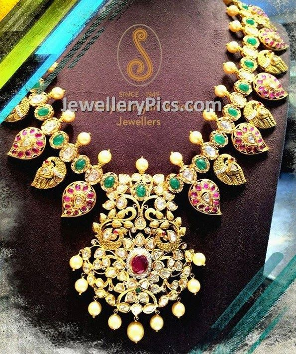 Pachi style heavy mango mala - Latest Jewellery Designs