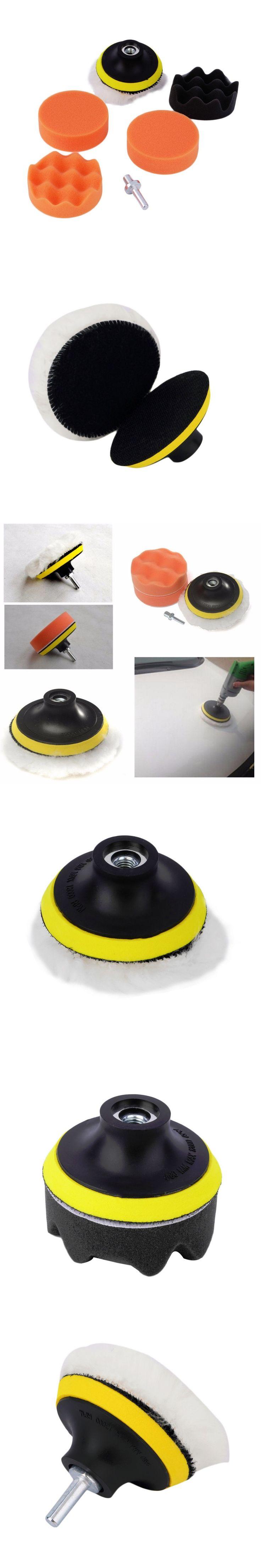 Hot Worldwide 7pcs/set 3 inch Buffing Pad Auto Car Polishing sponge Wheel Kit With M10 Drill Adapter Buffer Dropping Shipping~
