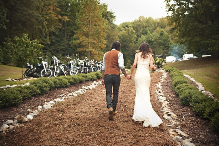 ride to the bride - gorgeous biker nuptials in TN.