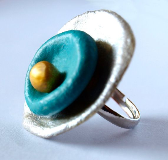 December 14  Silver Blue and Gold Statement Ring from by bibigo, €18.00