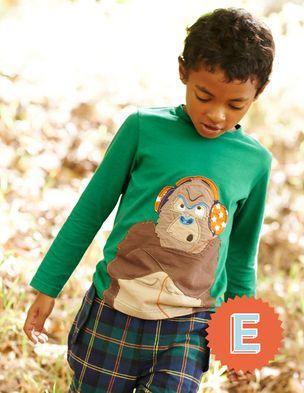 Letter E. Big Applique T-shirt 21744 Graphic T-Shirts at Boden