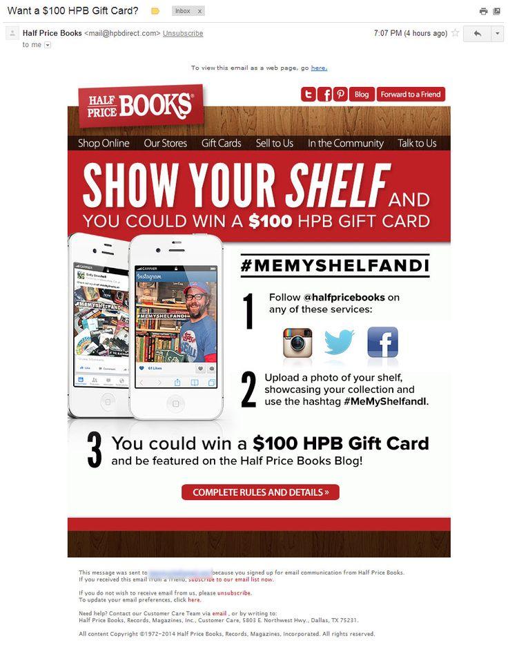 Half Price Books: анонс акции в социальных сетях (21/07/2014). Акции с шелфи подойдут любому околокнижному бизнесу. Их вполне можно повторять время от времени.