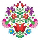 etnicos bordado : Kalocsai bordado - patrón floral popular húngaro con las aves Vectores