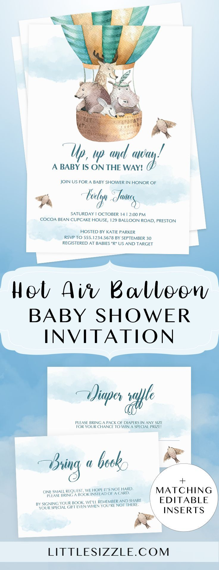 Hot air balloon baby shower invitation templates by LittleSizzle. Create your own baby shower invites for a hot air balloon themed baby shower. This adorable gender neutral printable invitation will fit your hot air balloon theme perfectly. Include the matching cloud baby shower game cards and bring a book instead of a card printable to complete the look. #babyshowerthemes #babyshowerinvitations #babyshowerideas4u #hotairballoon #genderneutral #DIY #template #printable