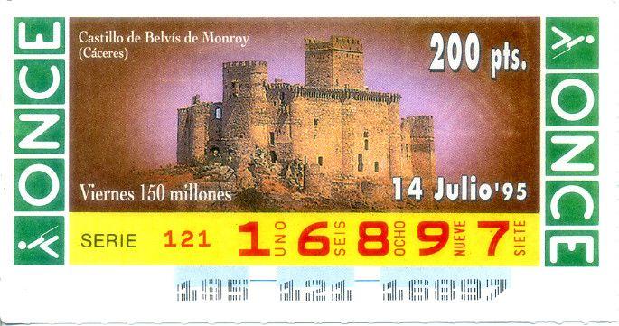 Billete de lotería: V. Castillo de Belvís Monroy (ONCE, España) (1995 - 07 Cupones Diarios Julio) Col:ONCE-SP-95-07-14
