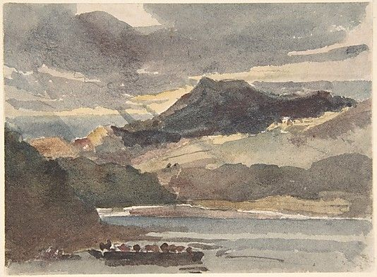 """Study for """"The Ferry"""" Peter De Wint (British, Hanley, Stoke-on-Trent 1784–1849 London) Date: after 1829 Medium: Watercolor and graphite Dimensions: sheet: 3 3/4 x 5 in. (9.5 x 12.7 cm) Metropolitan Museum of Art NY"""