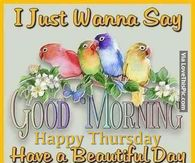 I Just Wanna Say Good Morning Happy Thursday. Have A Beautiful Day
