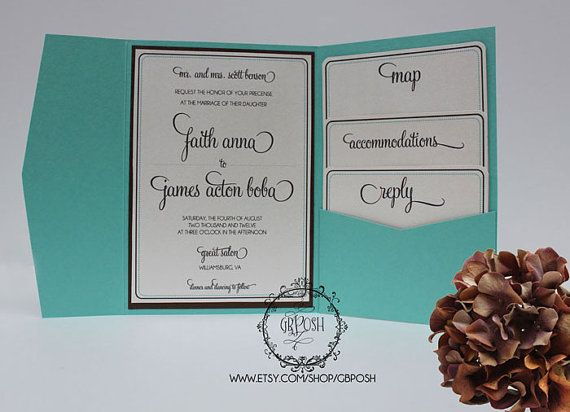 Turquoise Tiffany Wedding Invitation  Style 11 by OneLovePaperie