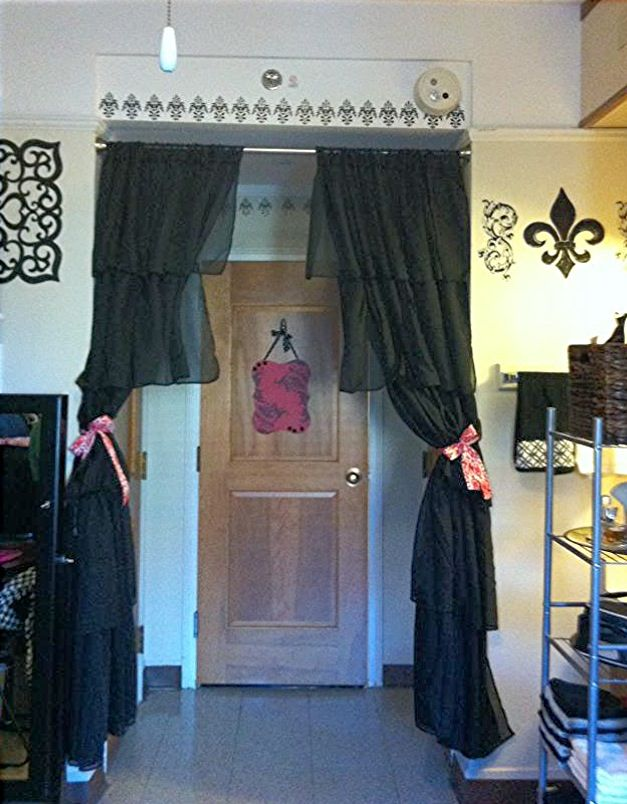 Cute idea! Put curtains around the door:)  This would be good in the doorway going to the vanity to keep out the light for a sleeping roomie.