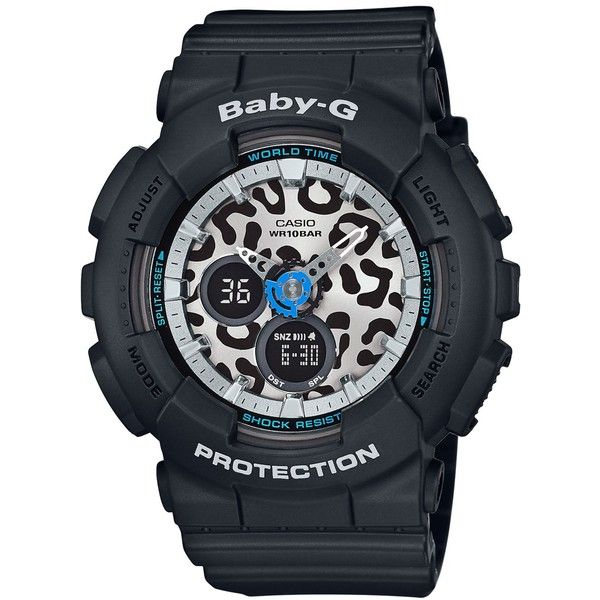 Baby-g Women's Black Bracelet Watch 46x43mm BA120LP-1A ($120) ❤ liked on Polyvore featuring jewelry, watches, black, kohl jewelry, black dial watches, black wrist watch, leopard print jewelry and g shock watches