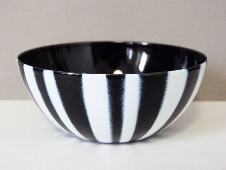 "1960's Cathrineholm Danish enamel striped bowl 4"" by planetutopia on Etsy"