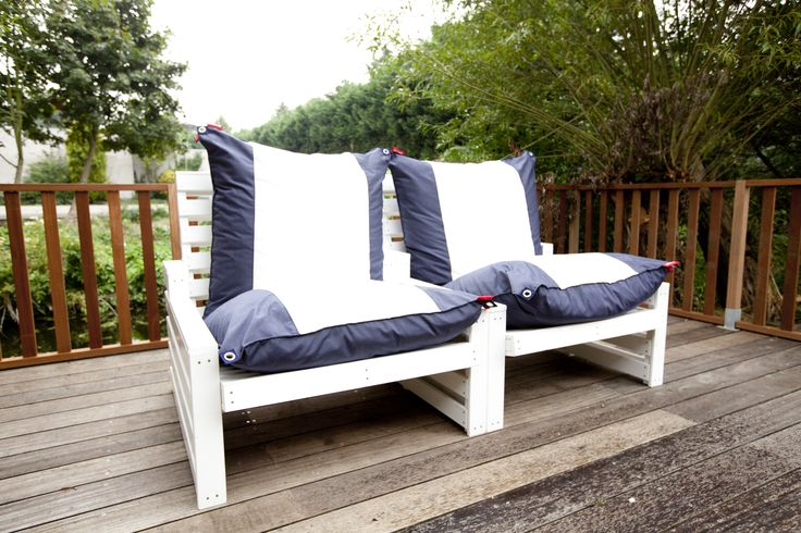Coast Watcher in blue jeans with canvas by Big Pillows, outdoor furniture