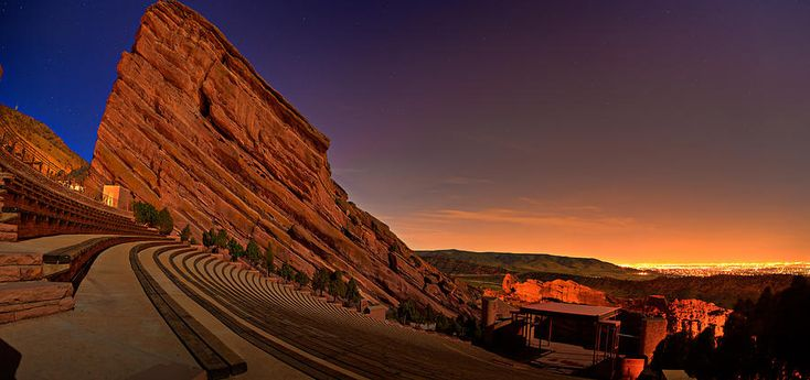 Night Photograph - Red Rocks Amphitheatre At Night by James O Thompson