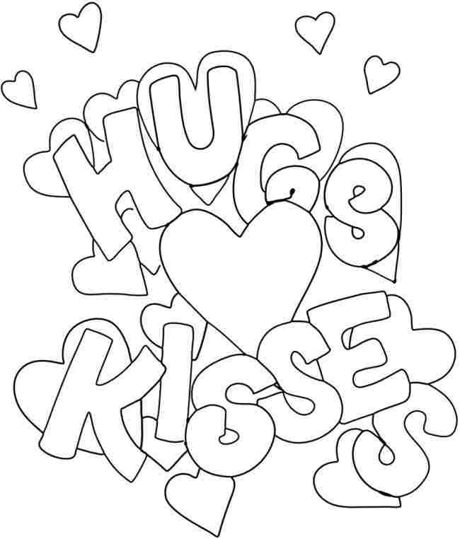 hugs & kisses | Valentine coloring pages, Valentines day ...