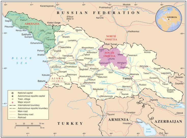 Map of Georgia highlighting South Ossetia (purple) and Abkhazia (green).