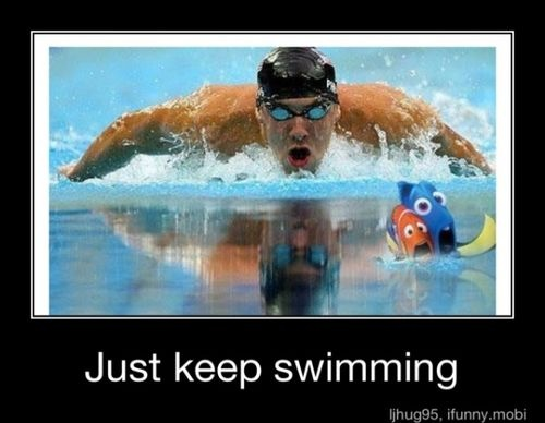 Michael Phelps Funny, Funny Swimming Quotes, Keep Swimming, Michael Phelps And Doris, Too Funny, Funny Stuff, So Funny, Swimming Team, Finding Nemo
