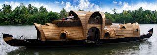 Houseboat on the lake in Kerala