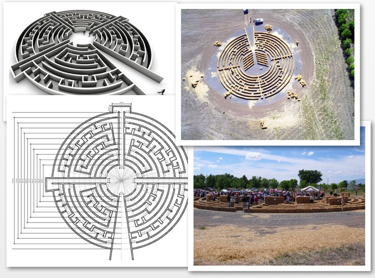 An unusual and wonderful labyrinth that edges between a labyrinth and a maze in form. El Santuario de los Poblares was commissioned by the oldest church in Colorado, Our Lady of Guadalupe. I created one image to see design, visualisation, straw bale construction and use side by side. Finally, the labyrinth will be made from mud bricks designed to last hundreds of years.   http://esdlp.blogspot.com/