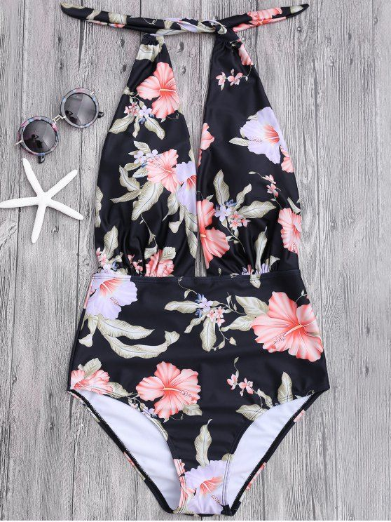 Plunge Floral Backless Padded Swimwear - BLACK M