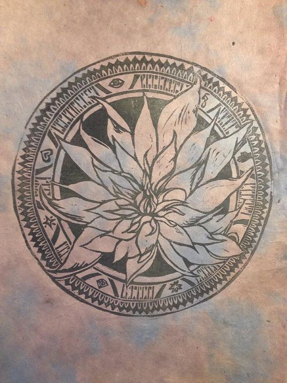 """Happy New Year friends! Now available - """"The Twisted Lotus Mandala""""10 x 14 Linocut Print by meagandvanahn. Printed on handmade lokta paper from Nepal in pale blue and grey. $25."""