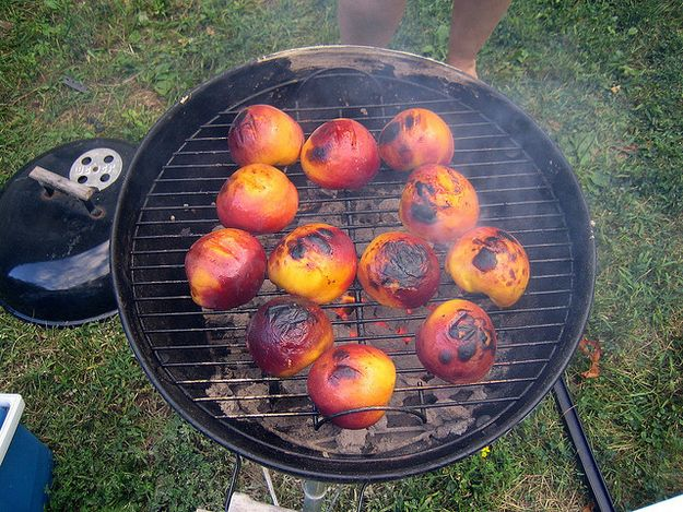 Grilled peaches. Great for a get together BBQ with friends. Easy dessert (that hubby is in charge of, not me!)