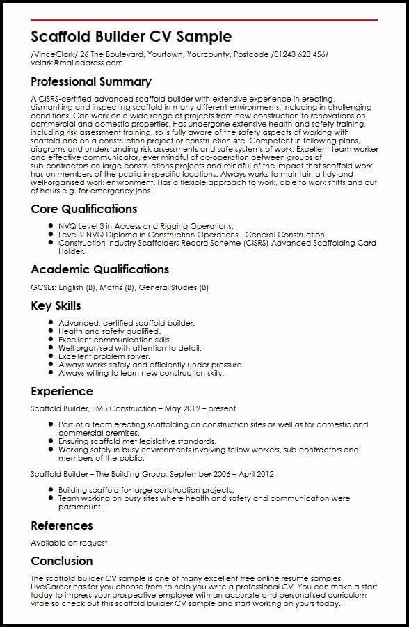Strong Communication Skills Resume Beautiful Scaffold Builder Cv Example Myperfectcv In 2020 Resume Skills Communication Skills Good Cv