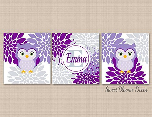 Owl DecorOwl Nursery Wall ArtPurple Gray Owl Wall ArtPurple Owl Nursery DecorLavender Gray Nursery Wall ArtOwl Kids Room DecorUNFRAMED Set of 3 PRINTS NOT CANVAS >>> Read more  at the image link. (Note:Amazon affiliate link)