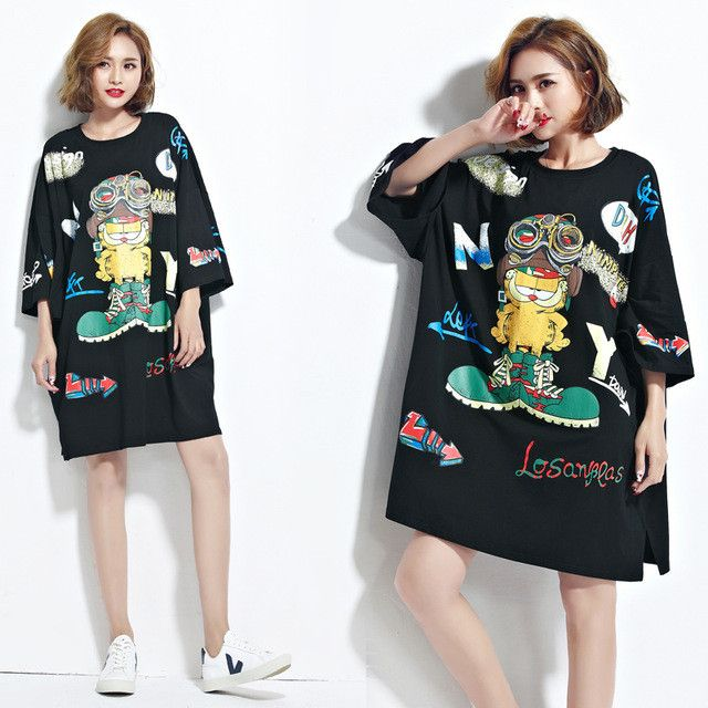 Women T-Shirt Plus Size Summer Harajuku Cartoon Pattern Print Batwing Female Fashion Loose Casual Black Short Sleeve Tops&Tees