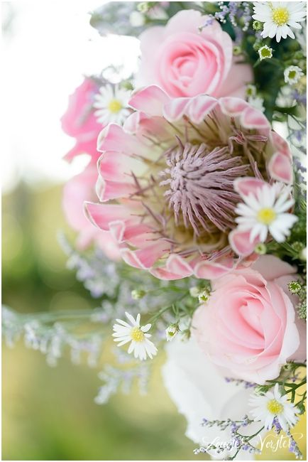 some of the flowers used in the center pieces of the pink table.