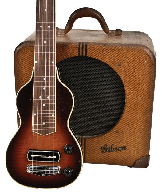 "Gibson EH-150 lap steel/amp combo. Producing around 15 watts from two 6L6's thru a 12 inch speaker this was gibson's answer to Rickenbacker's ""Frying Pans"" and amplifiers. The set was yours for $150 in 1937!"