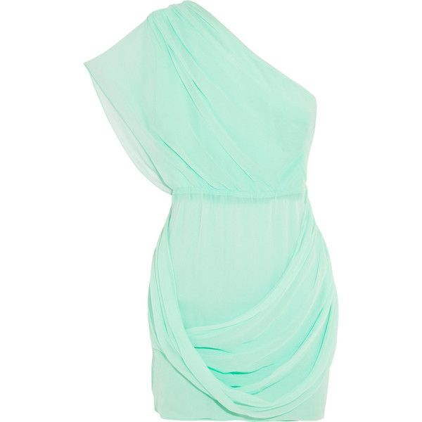 Alice + Olivia Wesson one-shoulder silk-chiffon dress found on Polyvore