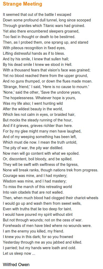 Strange Meeting by Wilfred Owen. http://annabelchaffer.com/