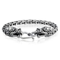 Bling Jewelry Mens Sterling Silver Antique Bali Dragon Bracelet