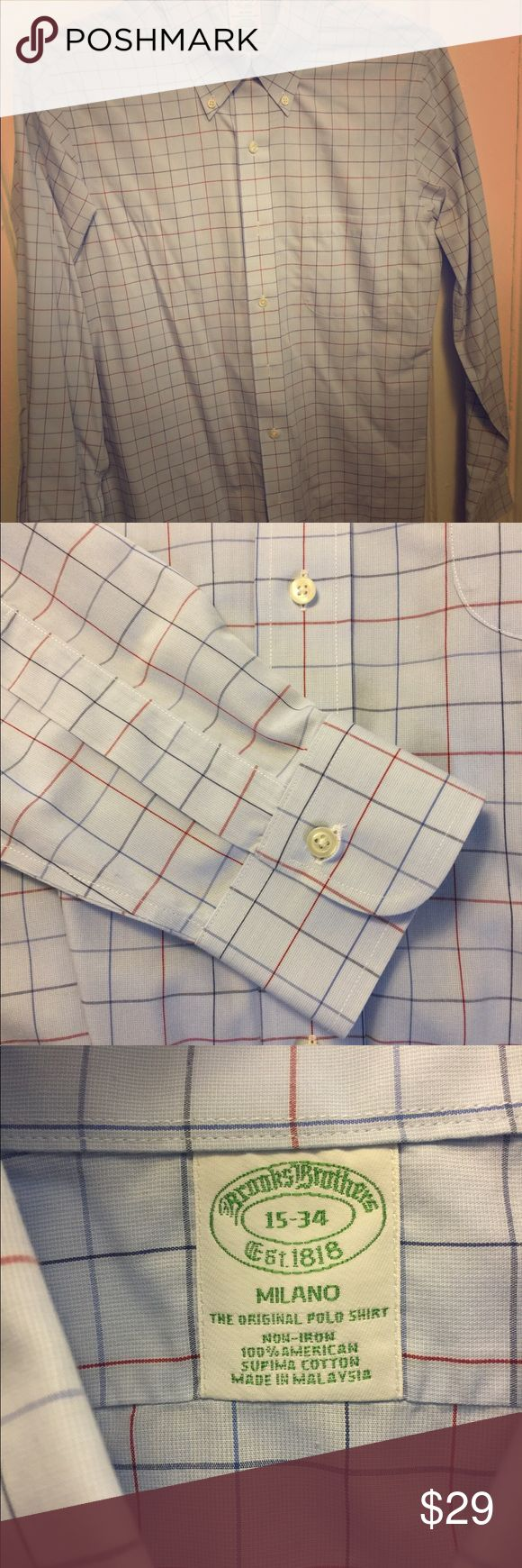 Brooks Brothers Milano Fit Non-Iron Dress Shirt Brooks Brothers Milano (extra slim) Fit Non-Iron Dress Shirt 15 - 34, 100% supima cotton, Great condition! Brooks Brothers Shirts Dress Shirts