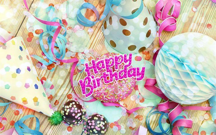 Download wallpapers Happy Birthday, decorating, 4k, birthday