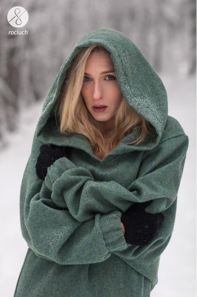 warm wool hoodie on a beauty
