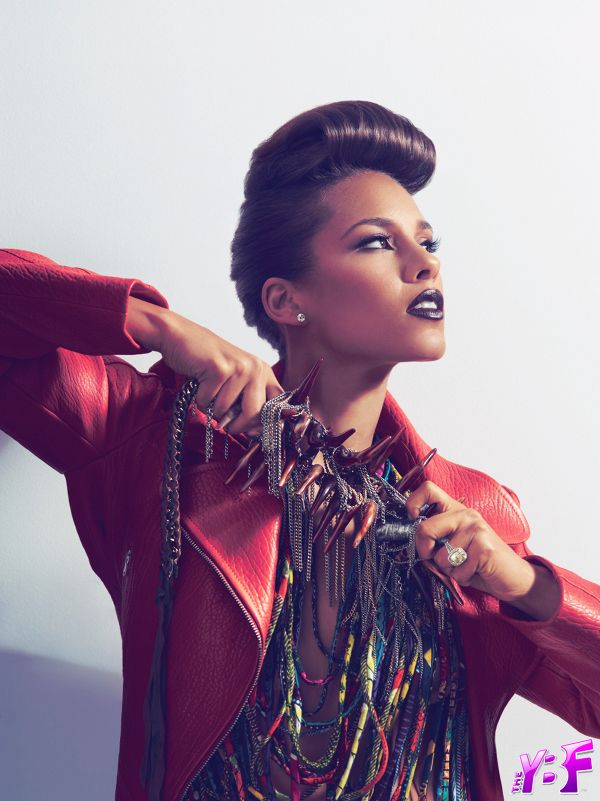 Alicia Keys pompadour bangs hairstyle
