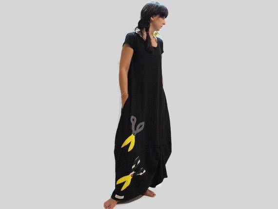 Black cotton long dress / Women black loose dress / long dress