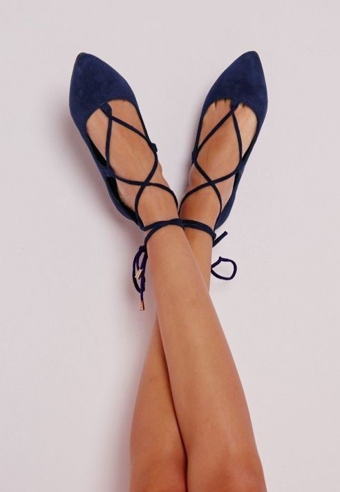 Lace Up Pointed Ballerina Flats Cobalt Blue