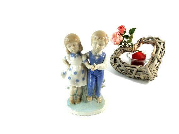 Ceramic Boy and Girl Figurine - Vintage Dancers Figurine - Ceramic Cake Topper - Boy and Girl - Wedding Decoration - Wedding Cake Decor
