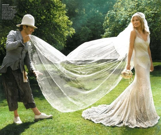 I love this shot of Kate Moss's wedding gown. Absolutely beautiful. Now if only Galliano weren't in it and her veil was just floating in the nonexistent wind.