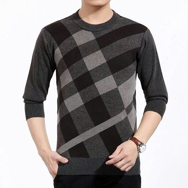 Men's Business Mature Steady Style Sweaters Thick Woollen Brocade O-neck Cardigans at Banggood