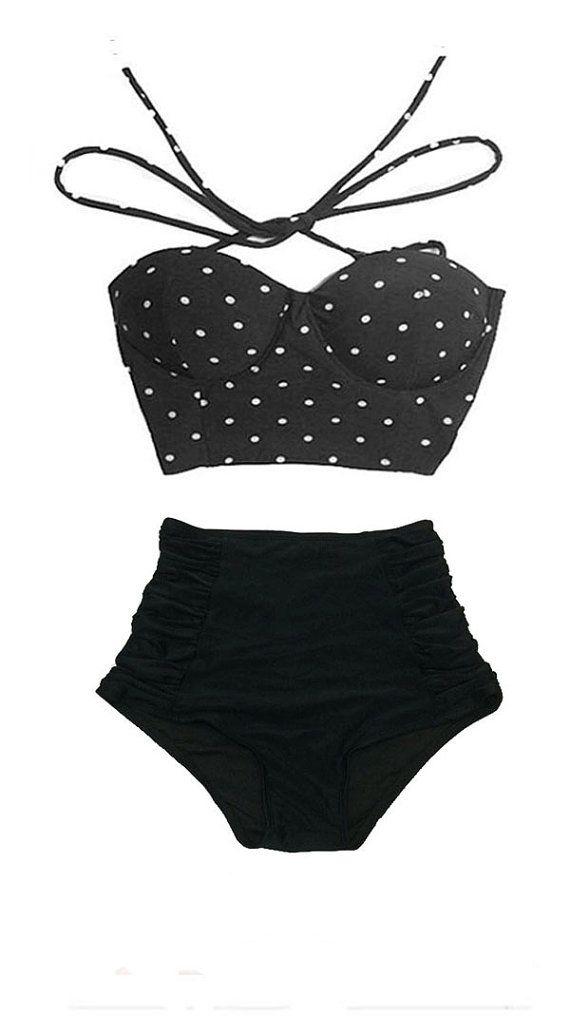 Black Polka dot dots Tie Back Top and Vintage VTG Retro High waist waisted Shorts Bottom Bikini Swimsuit Swimwear Bathing suit Swim wear S M