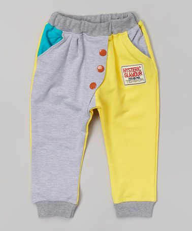 Want to make these. Gray & Yellow Harem Pants - Infant, Toddler & Kids by Leighton Alexander #zulilyfinds