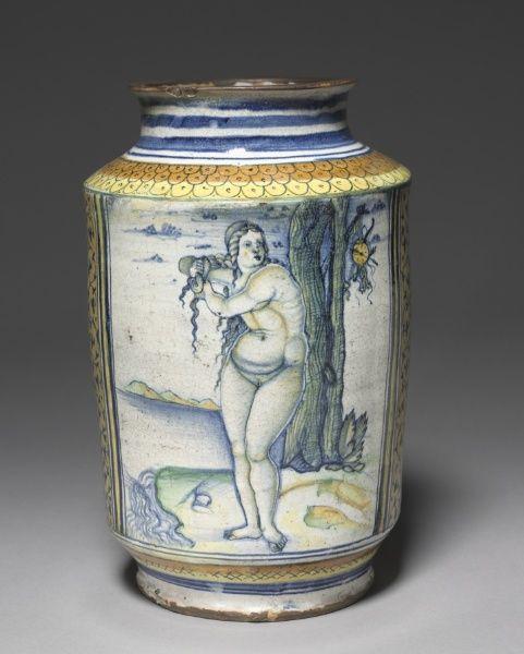 Italian albarello ~ Venus on the Sea Shore ~  Italy, Faenza ~ 16th c.~ 1507-1510 ~ tin-glazed earthenware (Maiolica)
