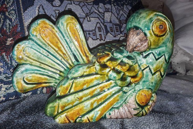 Rorstrand Gunnar Nylund figurine LARGE BIG parrot bird animal Rörstrand chamotte #Rorstrand #GunnarNylund