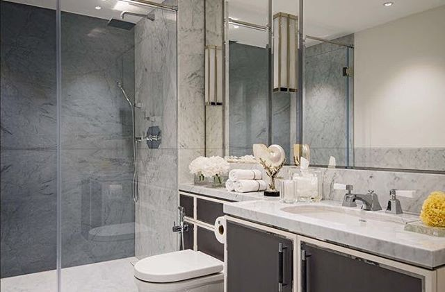 Beautiful natural stone adds a discreet element of glamour to the interior of our Hyde Park, London project #marble #bathroom #stone #luxury #interior #katharinepooleyltd