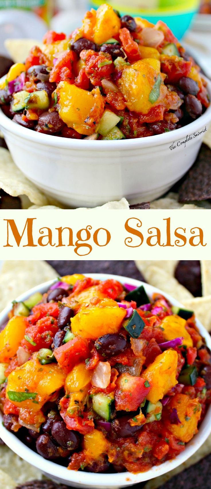 Quick Mango Salsa ~ The Complete Savorist Mango Salsa is perfect for any gathering and is easy to make. #makemangosalsa #PMedia #ad @Del Monte Brand